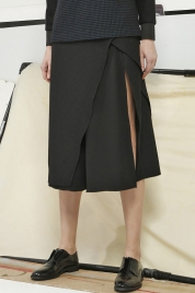 Napier Black Wool Asymmetric Skirt