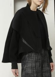 'Farcy' Black Wool Cape